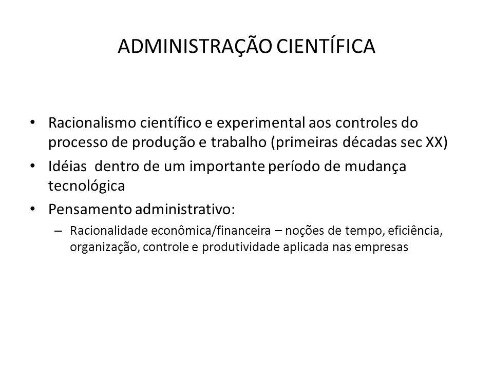 ADMINISTRAÇÃO CIENTÍFICA Racionalismo científico e experimental aos controles do processo de produção e trabalho (primeiras décadas sec XX) Idéias den