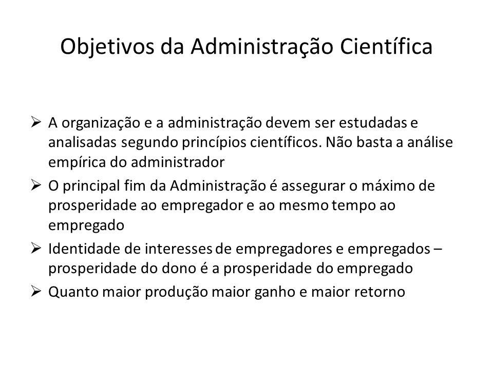 Objetivos da Administração Científica  A organização e a administração devem ser estudadas e analisadas segundo princípios científicos. Não basta a a