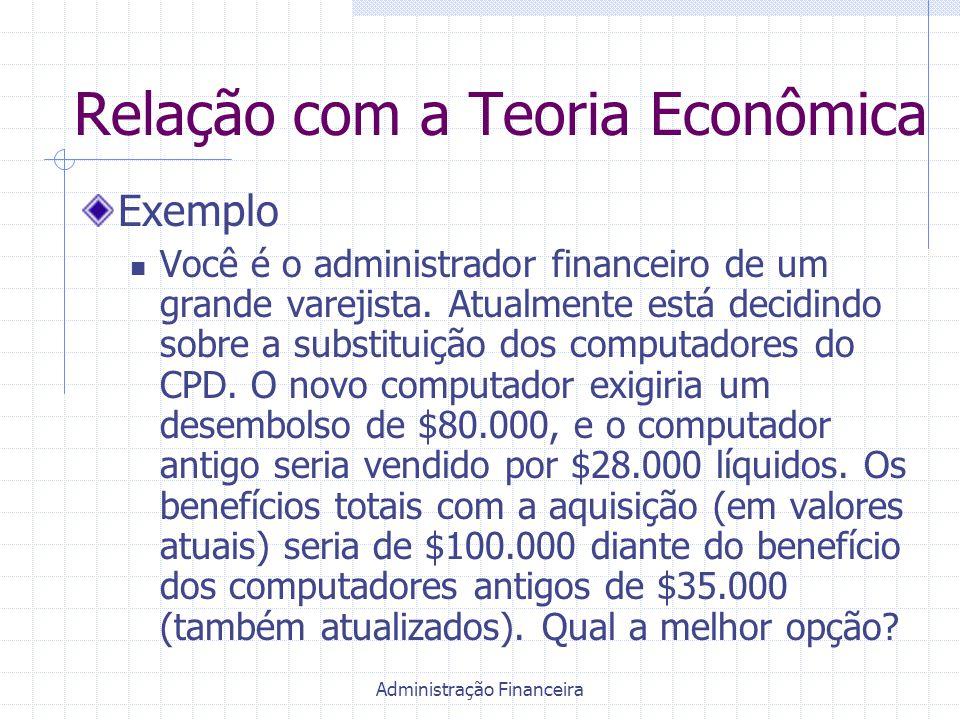 Administração Financeira Relação com a Teoria Econômica Exemplo Você é o administrador financeiro de um grande varejista. Atualmente está decidindo so