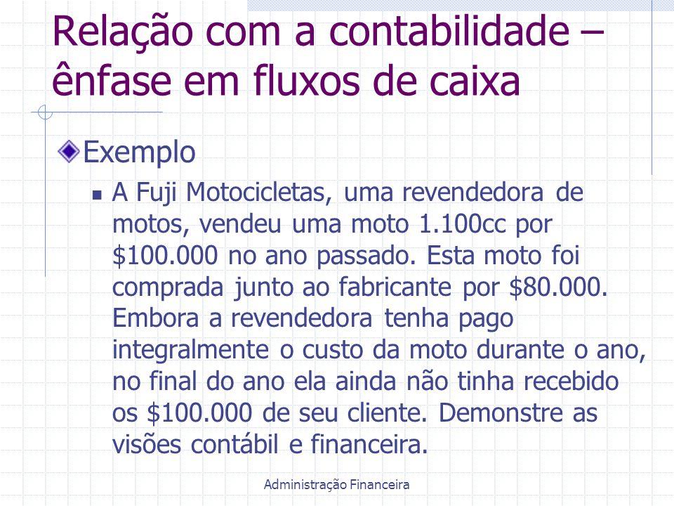 Administração Financeira Relação com a contabilidade – ênfase em fluxos de caixa Exemplo A Fuji Motocicletas, uma revendedora de motos, vendeu uma mot