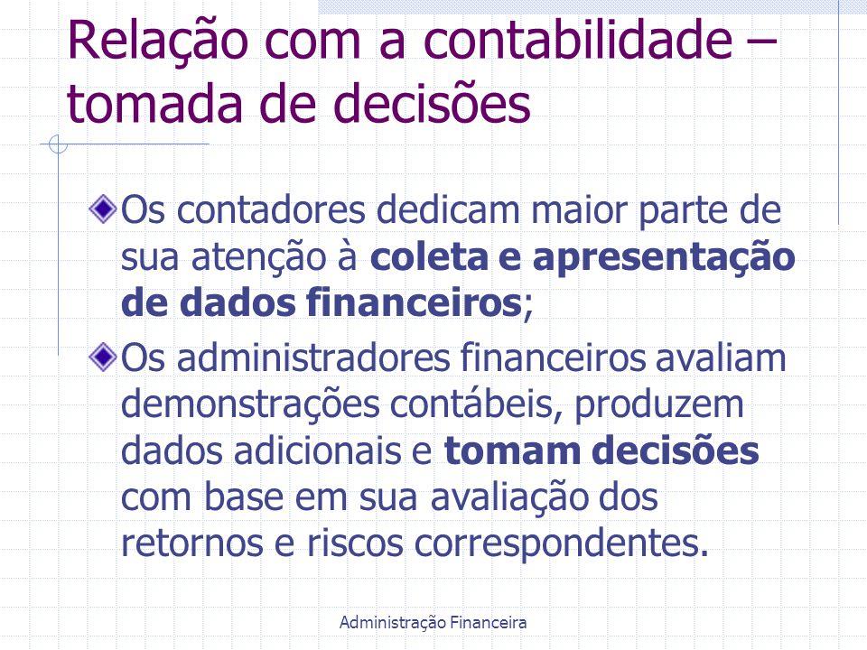 Administração Financeira Relação com a contabilidade – tomada de decisões Os contadores dedicam maior parte de sua atenção à coleta e apresentação de