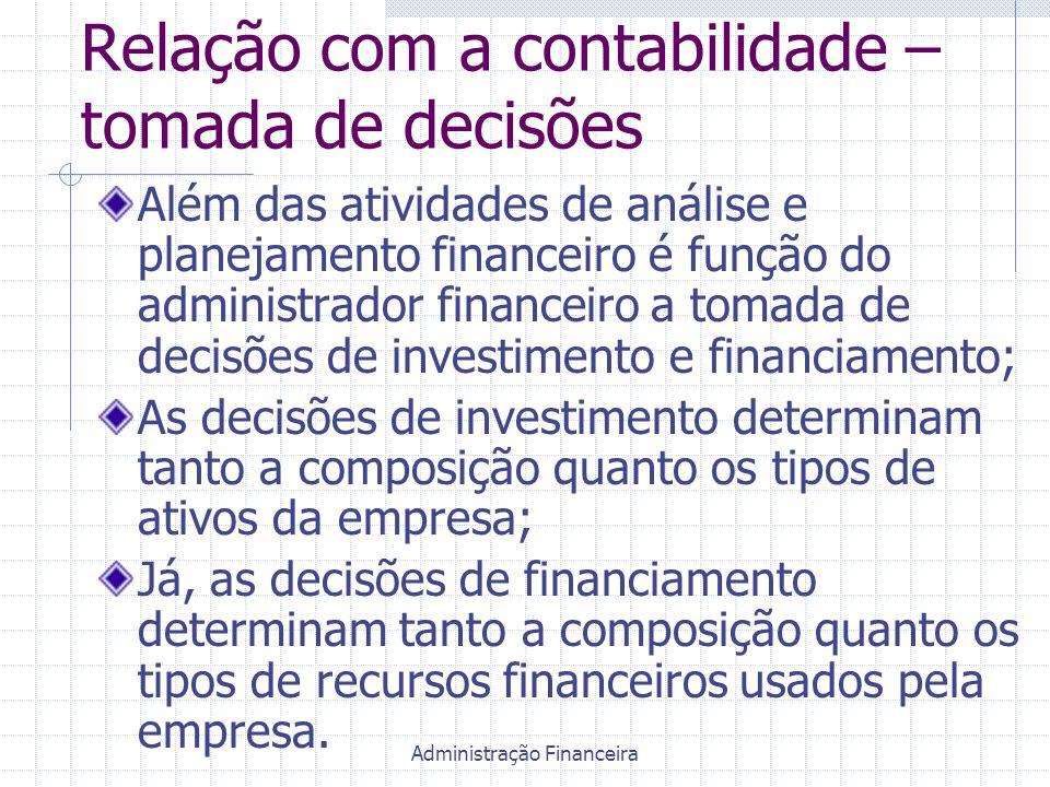 Administração Financeira Relação com a contabilidade – tomada de decisões Além das atividades de análise e planejamento financeiro é função do adminis