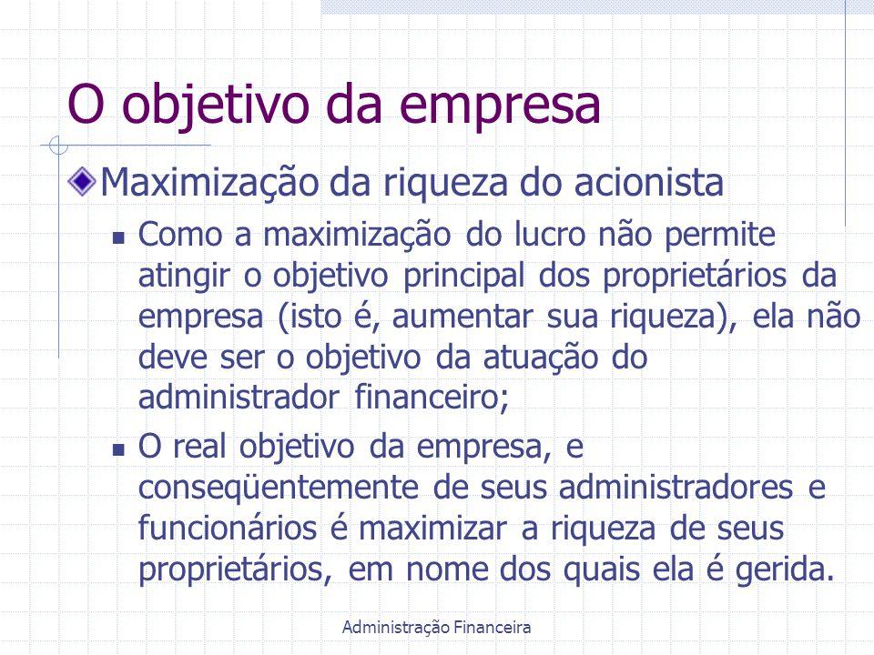 Administração Financeira O objetivo da empresa Maximização da riqueza do acionista Como a maximização do lucro não permite atingir o objetivo principa