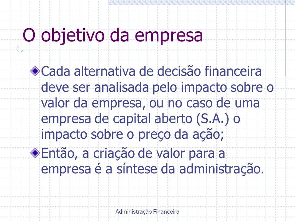 Administração Financeira O objetivo da empresa Cada alternativa de decisão financeira deve ser analisada pelo impacto sobre o valor da empresa, ou no