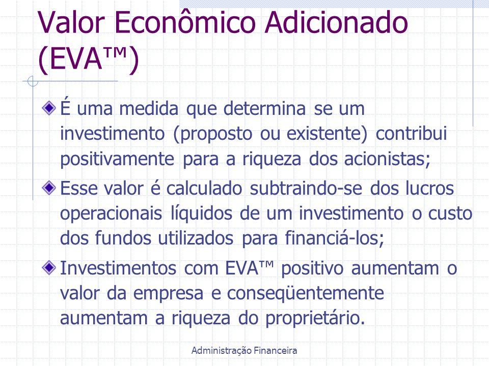 Administração Financeira Valor Econômico Adicionado (EVA™) É uma medida que determina se um investimento (proposto ou existente) contribui positivamen
