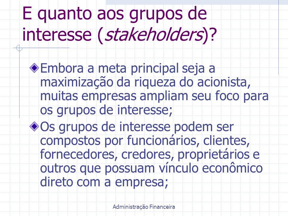 Administração Financeira E quanto aos grupos de interesse (stakeholders)? Embora a meta principal seja a maximização da riqueza do acionista, muitas e