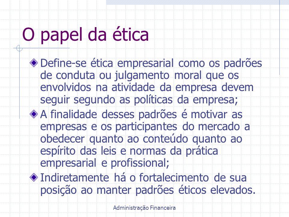 Administração Financeira O papel da ética Define-se ética empresarial como os padrões de conduta ou julgamento moral que os envolvidos na atividade da