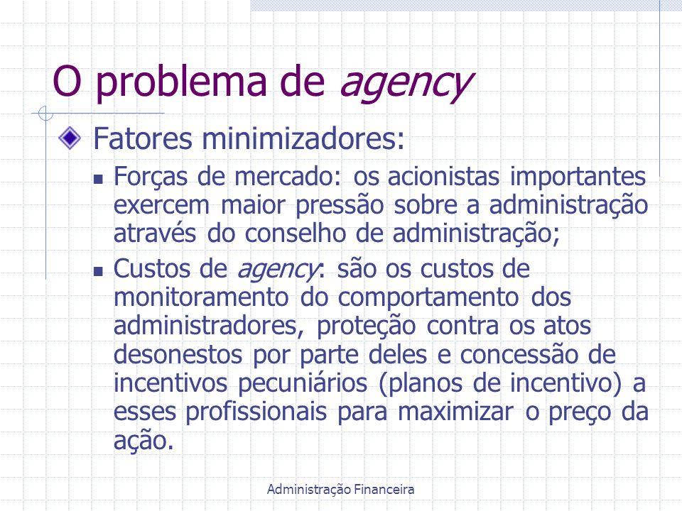 Administração Financeira O problema de agency Fatores minimizadores: Forças de mercado: os acionistas importantes exercem maior pressão sobre a admini