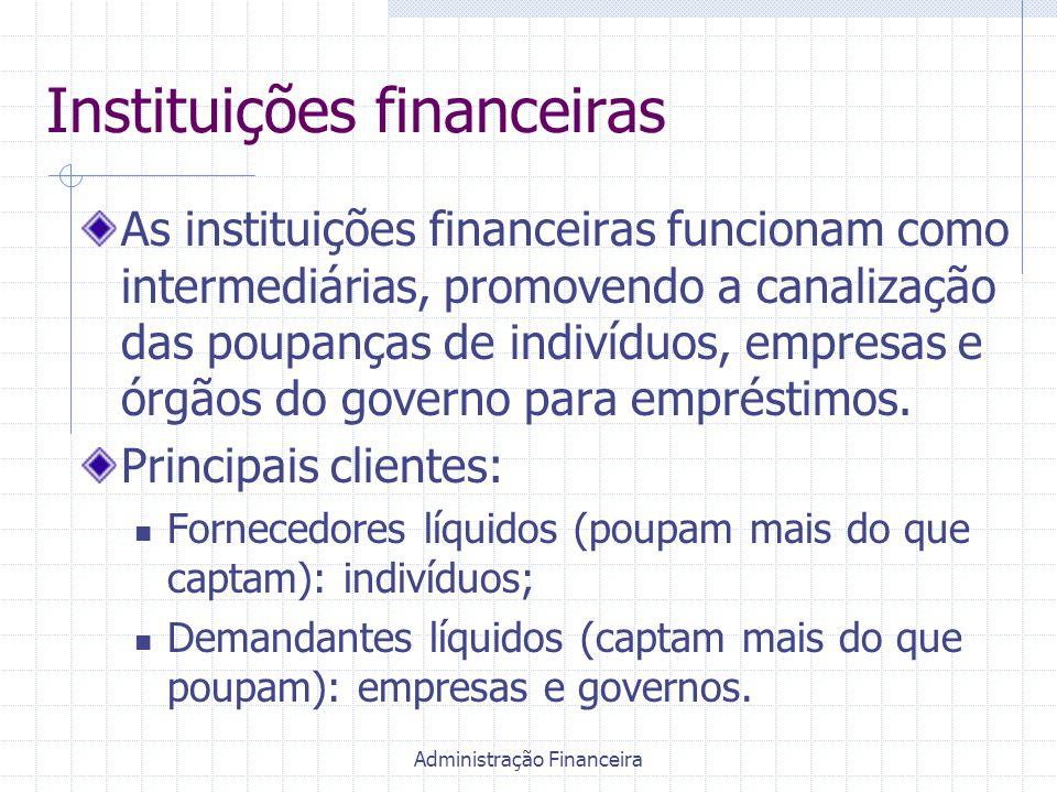 Administração Financeira Instituições financeiras As instituições financeiras funcionam como intermediárias, promovendo a canalização das poupanças de