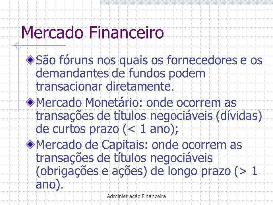 Administração Financeira Mercado Financeiro São fóruns nos quais os fornecedores e os demandantes de fundos podem transacionar diretamente. Mercado Mo