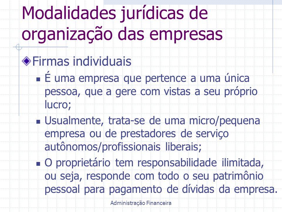 Administração Financeira Modalidades jurídicas de organização das empresas Firmas individuais É uma empresa que pertence a uma única pessoa, que a ger