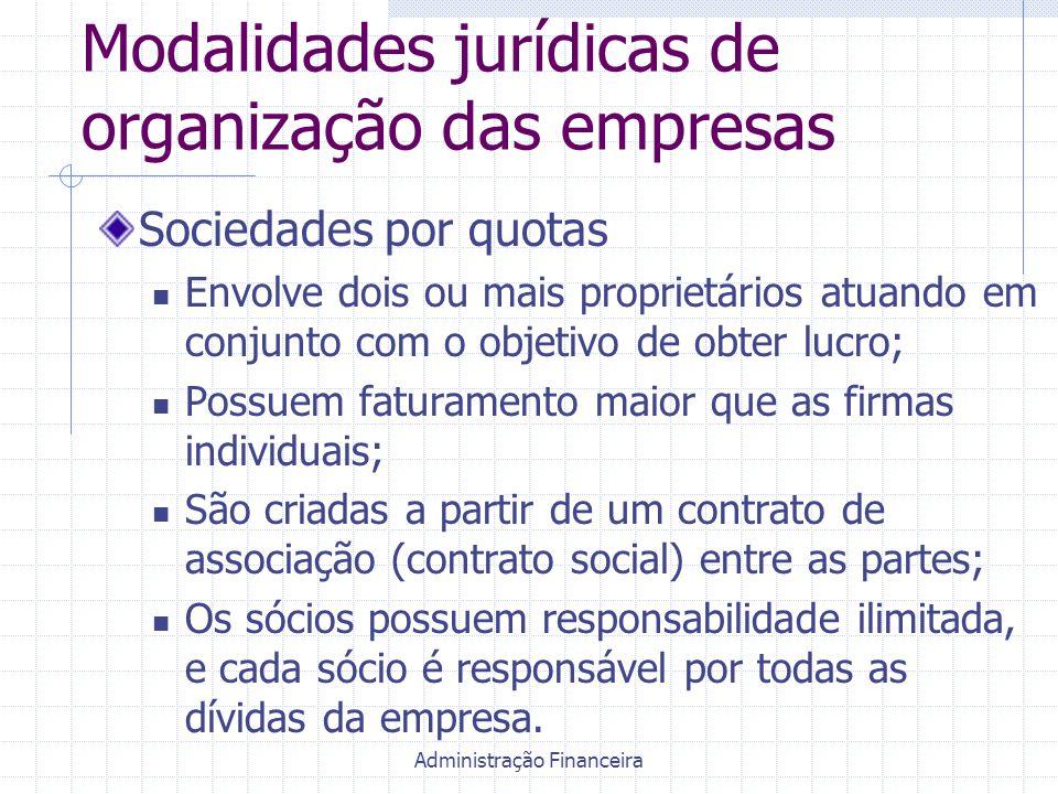 Administração Financeira Modalidades jurídicas de organização das empresas Sociedades por quotas Envolve dois ou mais proprietários atuando em conjunt