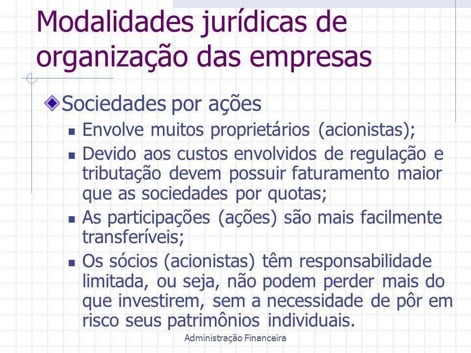 Administração Financeira Modalidades jurídicas de organização das empresas Sociedades por ações Envolve muitos proprietários (acionistas); Devido aos