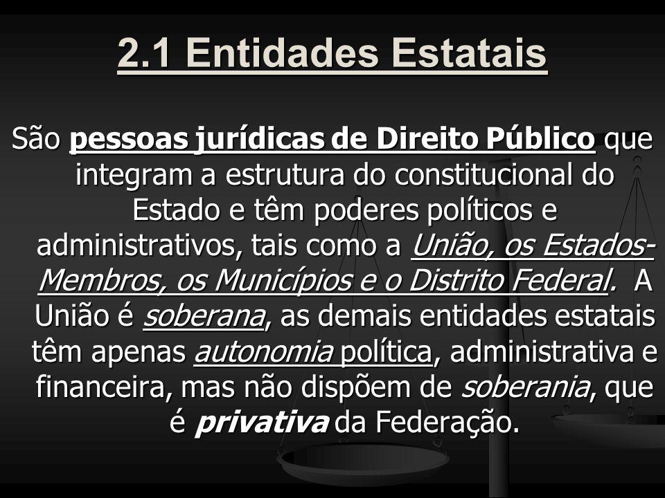 2.1 Entidades Estatais São pessoas jurídicas de Direito Público que integram a estrutura do constitucional do Estado e têm poderes políticos e administrativos, tais como a União, os Estados- Membros, os Municípios e o Distrito Federal.