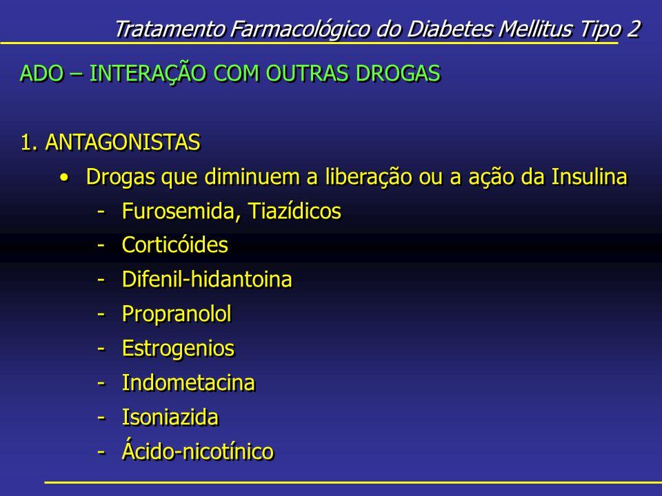 Tratamento Farmacológico do Diabetes Mellitus Tipo 2 ADO – INTERAÇÃO COM OUTRAS DROGAS 1.