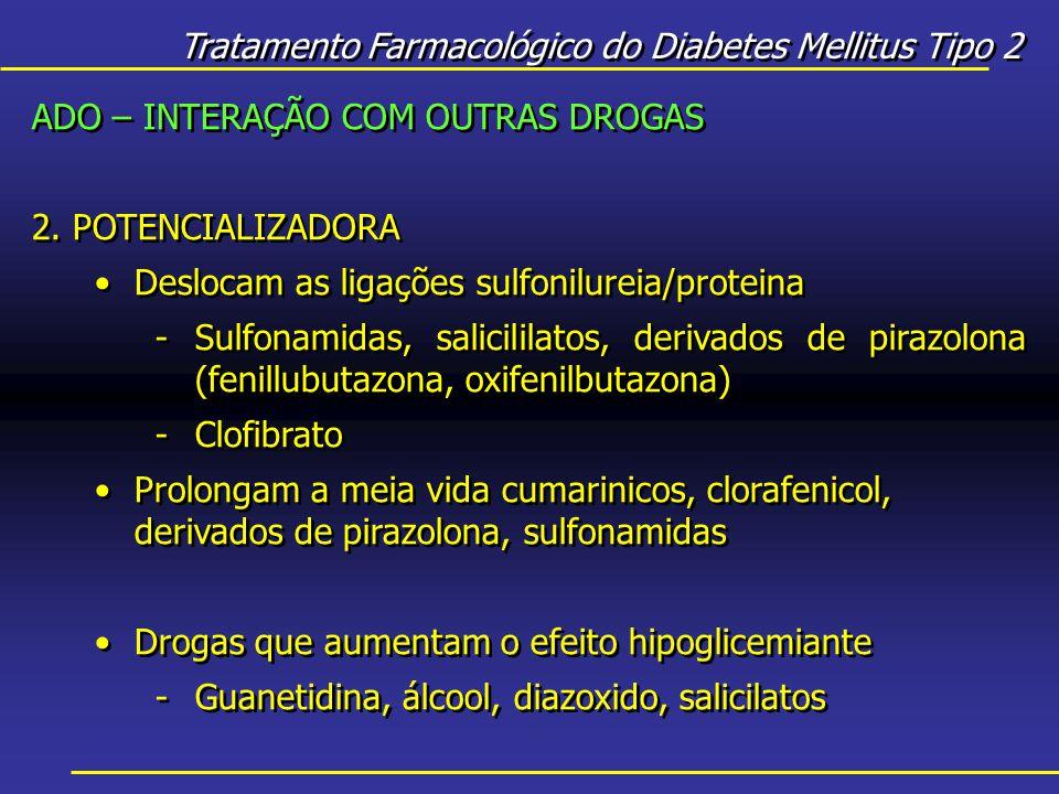 Tratamento Farmacológico do Diabetes Mellitus Tipo 2 ADO – INTERAÇÃO COM OUTRAS DROGAS 2.