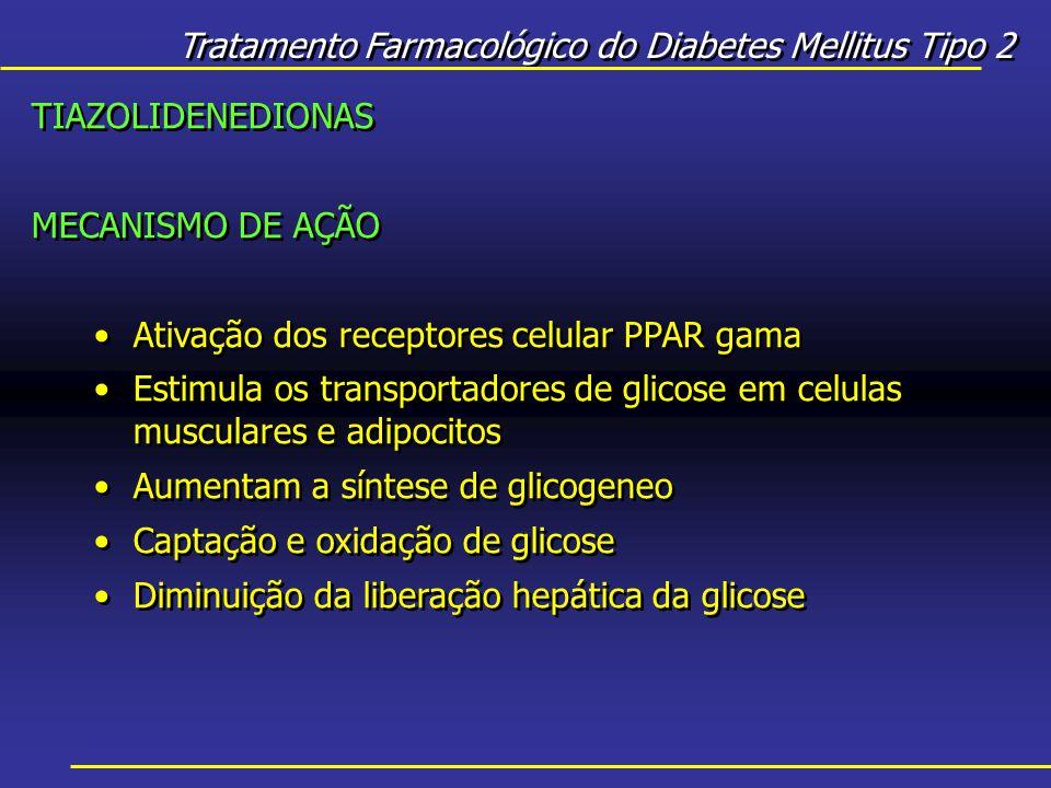 Tratamento Farmacológico do Diabetes Mellitus Tipo 2 TIAZOLIDENEDIONAS MECANISMO DE AÇÃO Ativação dos receptores celular PPAR gama Estimula os transportadores de glicose em celulas musculares e adipocitos Aumentam a síntese de glicogeneo Captação e oxidação de glicose Diminuição da liberação hepática da glicose TIAZOLIDENEDIONAS MECANISMO DE AÇÃO Ativação dos receptores celular PPAR gama Estimula os transportadores de glicose em celulas musculares e adipocitos Aumentam a síntese de glicogeneo Captação e oxidação de glicose Diminuição da liberação hepática da glicose