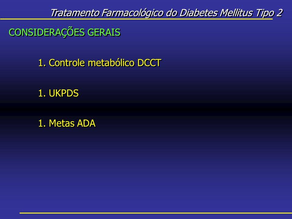 CONSIDERAÇÕES GERAIS 1.Controle metabólico DCCT 1.UKPDS 1.Metas ADA CONSIDERAÇÕES GERAIS 1.Controle metabólico DCCT 1.UKPDS 1.Metas ADA