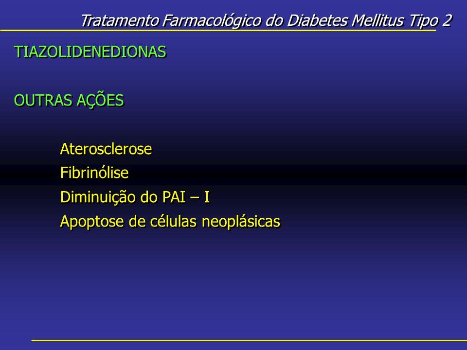 Tratamento Farmacológico do Diabetes Mellitus Tipo 2 TIAZOLIDENEDIONAS OUTRAS AÇÕES Aterosclerose Fibrinólise Diminuição do PAI – I Apoptose de células neoplásicas TIAZOLIDENEDIONAS OUTRAS AÇÕES Aterosclerose Fibrinólise Diminuição do PAI – I Apoptose de células neoplásicas
