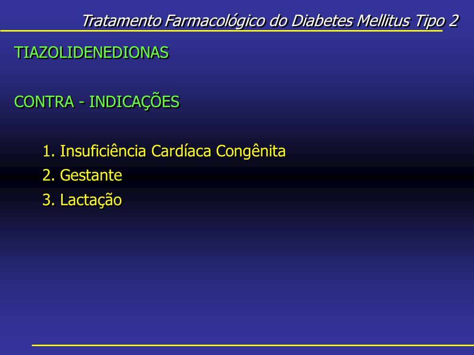 Tratamento Farmacológico do Diabetes Mellitus Tipo 2 TIAZOLIDENEDIONAS CONTRA - INDICAÇÕES 1.Insuficiência Cardíaca Congênita 2.Gestante 3.Lactação TIAZOLIDENEDIONAS CONTRA - INDICAÇÕES 1.Insuficiência Cardíaca Congênita 2.Gestante 3.Lactação