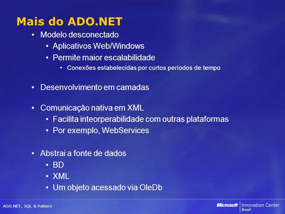 ADO.NET, SQL & Pattern Modelo desconectado Aplicativos Web/Windows Permite maior escalabilidade Conexões estabelecidas por curtos períodos de tempo De