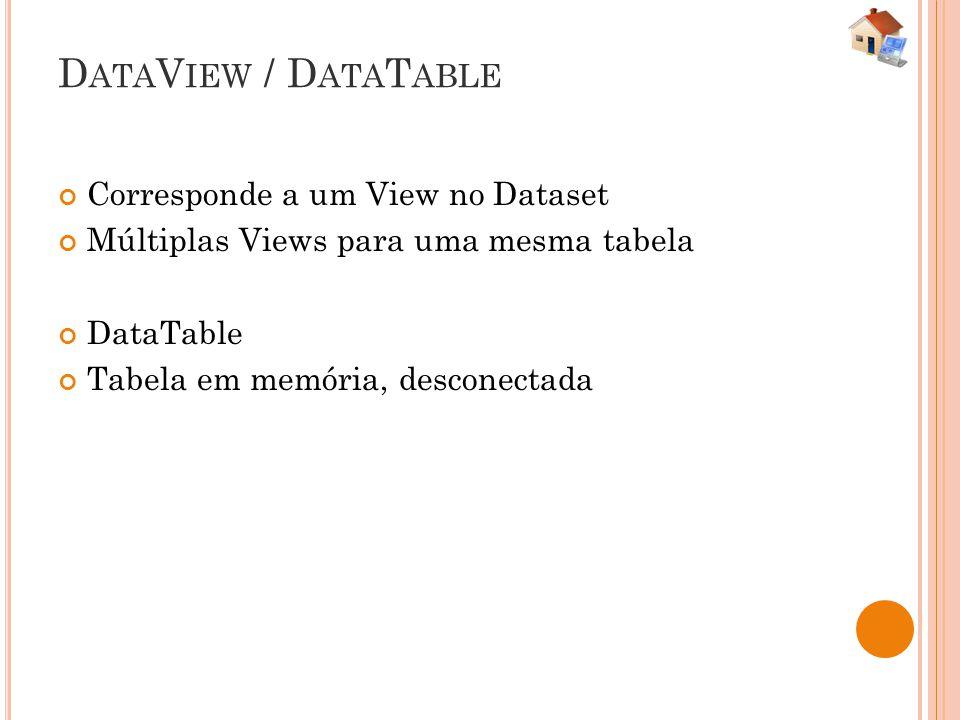 D ATA V IEW / D ATA T ABLE Corresponde a um View no Dataset Múltiplas Views para uma mesma tabela DataTable Tabela em memória, desconectada