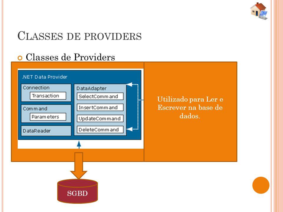 R ESPONSABILIDADES DOS P ROVIDERS InterfaceResponsabilidade ConnectionResponsável por manter a conexão com a base de dados CommandEncapsula comandos SQL DataReaderLeitor de dados, conectado, somente leitura e apenas para frente DataAdapterResponsável por preencher os dados da classe desconectada.