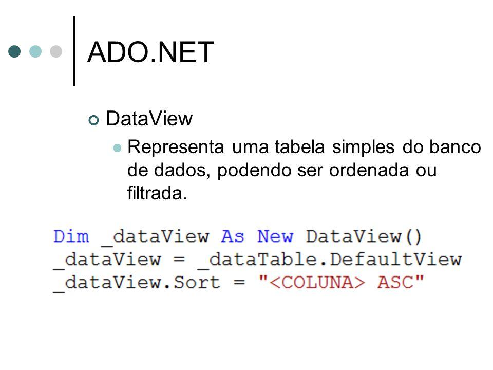 ADO.NET DataView Representa uma tabela simples do banco de dados, podendo ser ordenada ou filtrada.