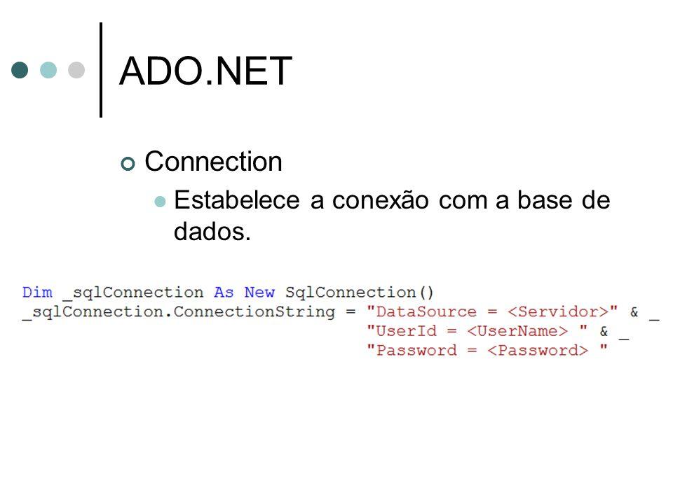 ADO.NET Command Executa um comando no banco de dados utilizando-se de uma conexão disponível.