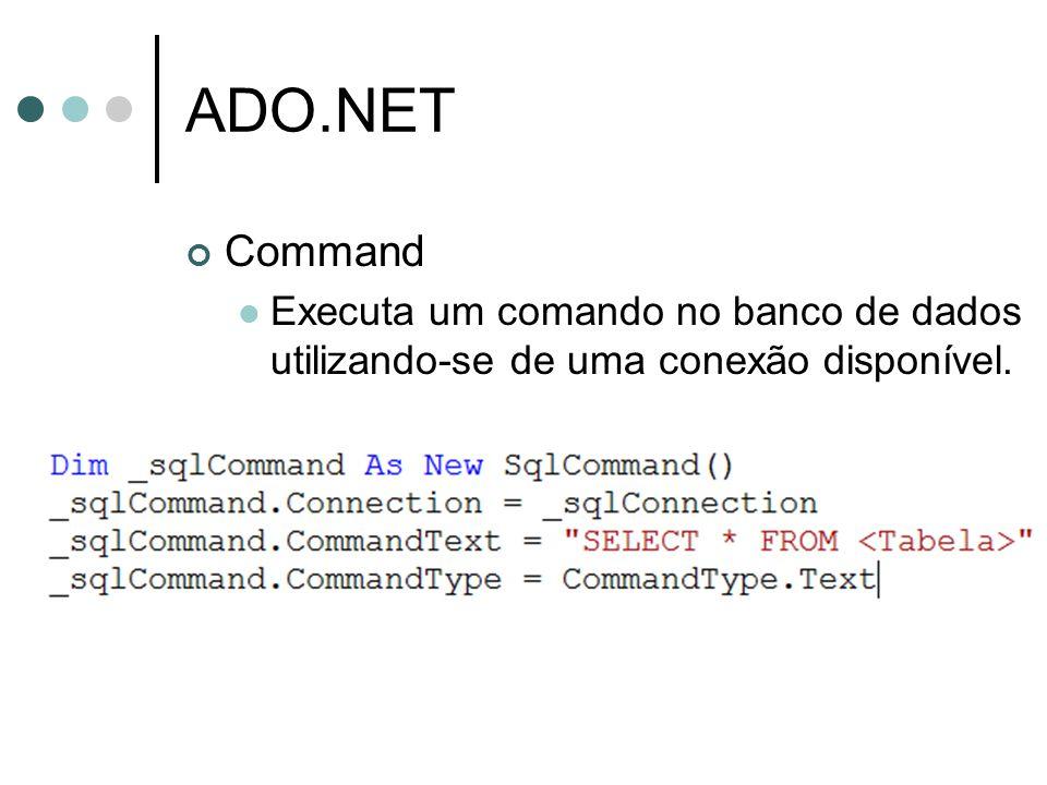 ADO.NET DataAdapter É o agente responsável por trazer os dados para a aplicação e/ou disparar comandos contra a base de dados.