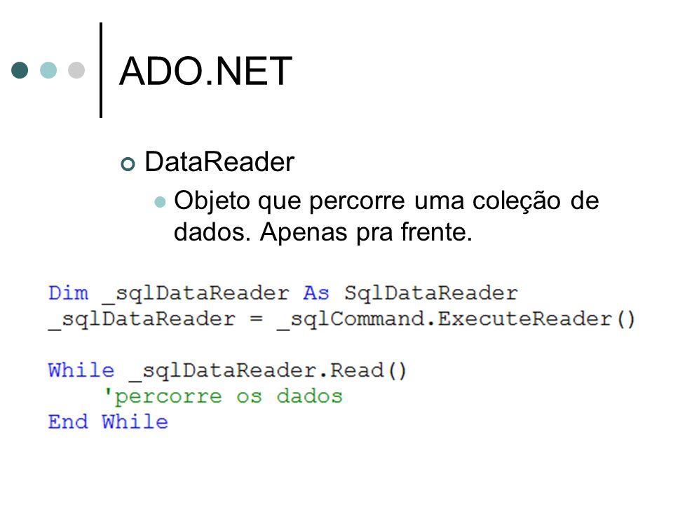 ADO.NET DataReader Objeto que percorre uma coleção de dados. Apenas pra frente.