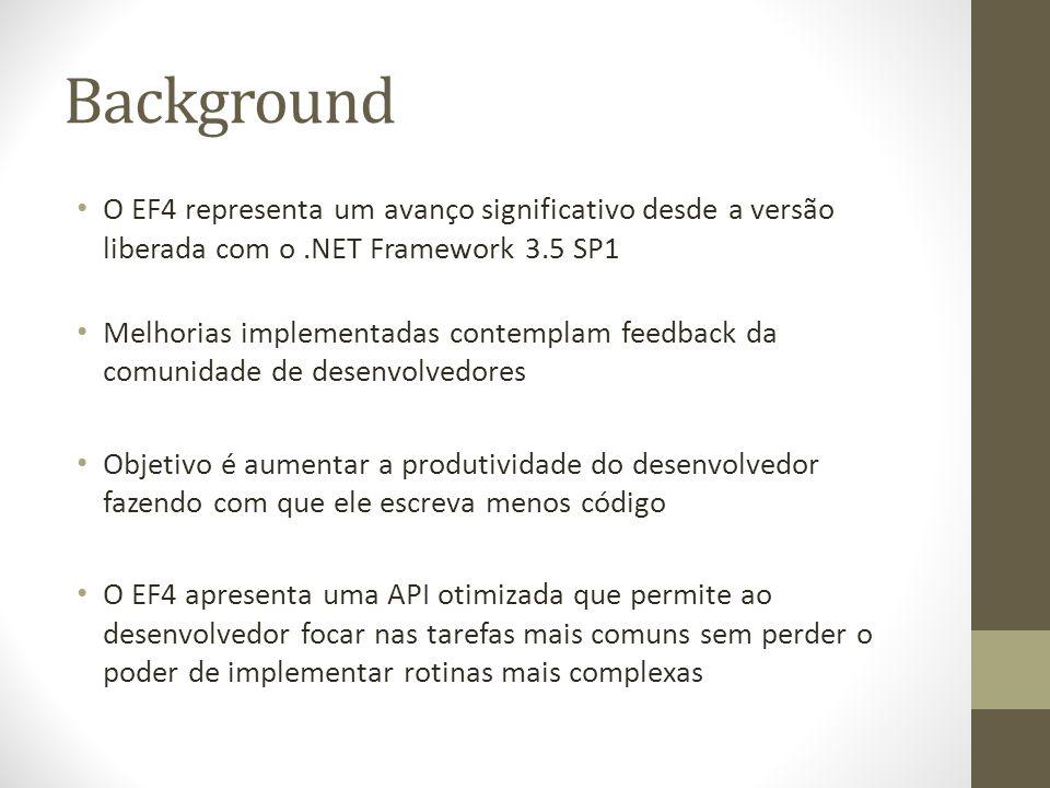 Background O EF4 representa um avanço significativo desde a versão liberada com o.NET Framework 3.5 SP1 Melhorias implementadas contemplam feedback da comunidade de desenvolvedores Objetivo é aumentar a produtividade do desenvolvedor fazendo com que ele escreva menos código O EF4 apresenta uma API otimizada que permite ao desenvolvedor focar nas tarefas mais comuns sem perder o poder de implementar rotinas mais complexas