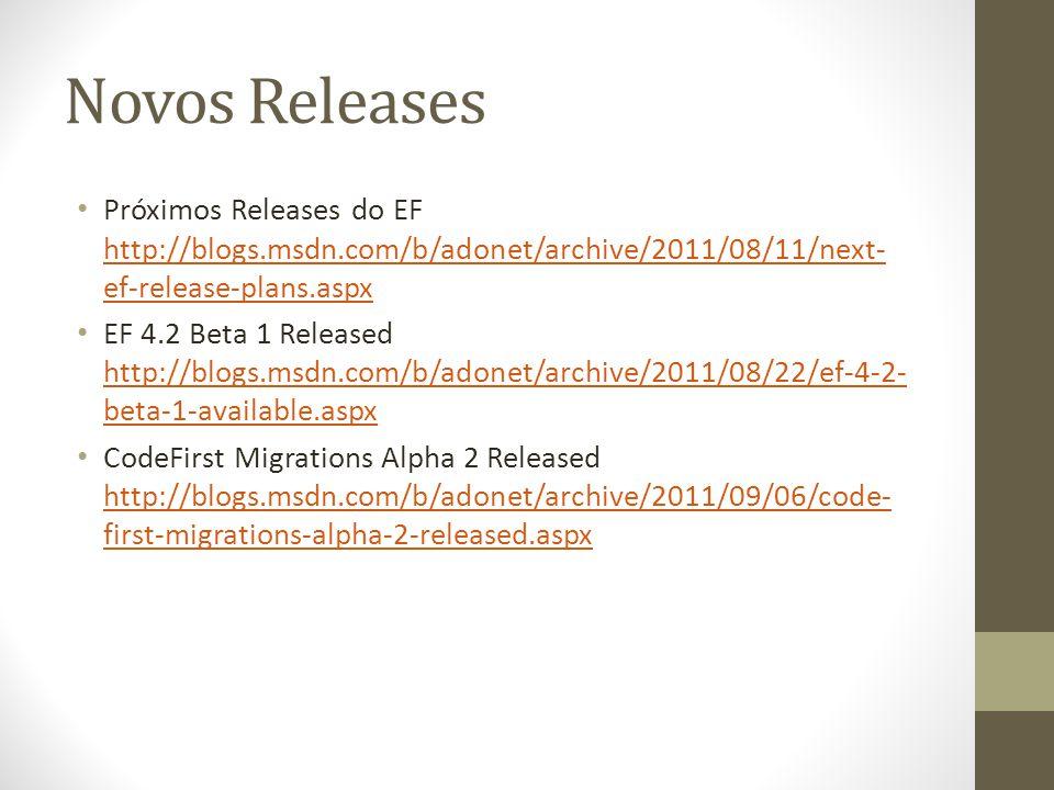 Novos Releases Próximos Releases do EF http://blogs.msdn.com/b/adonet/archive/2011/08/11/next- ef-release-plans.aspx http://blogs.msdn.com/b/adonet/archive/2011/08/11/next- ef-release-plans.aspx EF 4.2 Beta 1 Released http://blogs.msdn.com/b/adonet/archive/2011/08/22/ef-4-2- beta-1-available.aspx http://blogs.msdn.com/b/adonet/archive/2011/08/22/ef-4-2- beta-1-available.aspx CodeFirst Migrations Alpha 2 Released http://blogs.msdn.com/b/adonet/archive/2011/09/06/code- first-migrations-alpha-2-released.aspx http://blogs.msdn.com/b/adonet/archive/2011/09/06/code- first-migrations-alpha-2-released.aspx