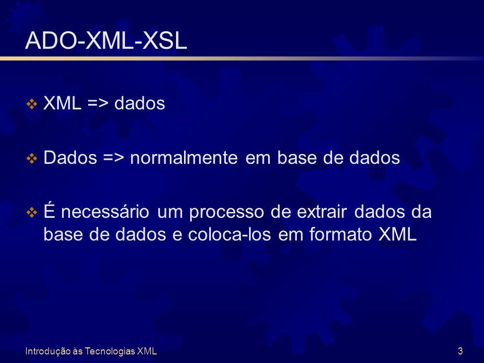 Introdução às Tecnologias XML3 ADO-XML-XSL  XML => dados  Dados => normalmente em base de dados  É necessário um processo de extrair dados da base de dados e coloca-los em formato XML