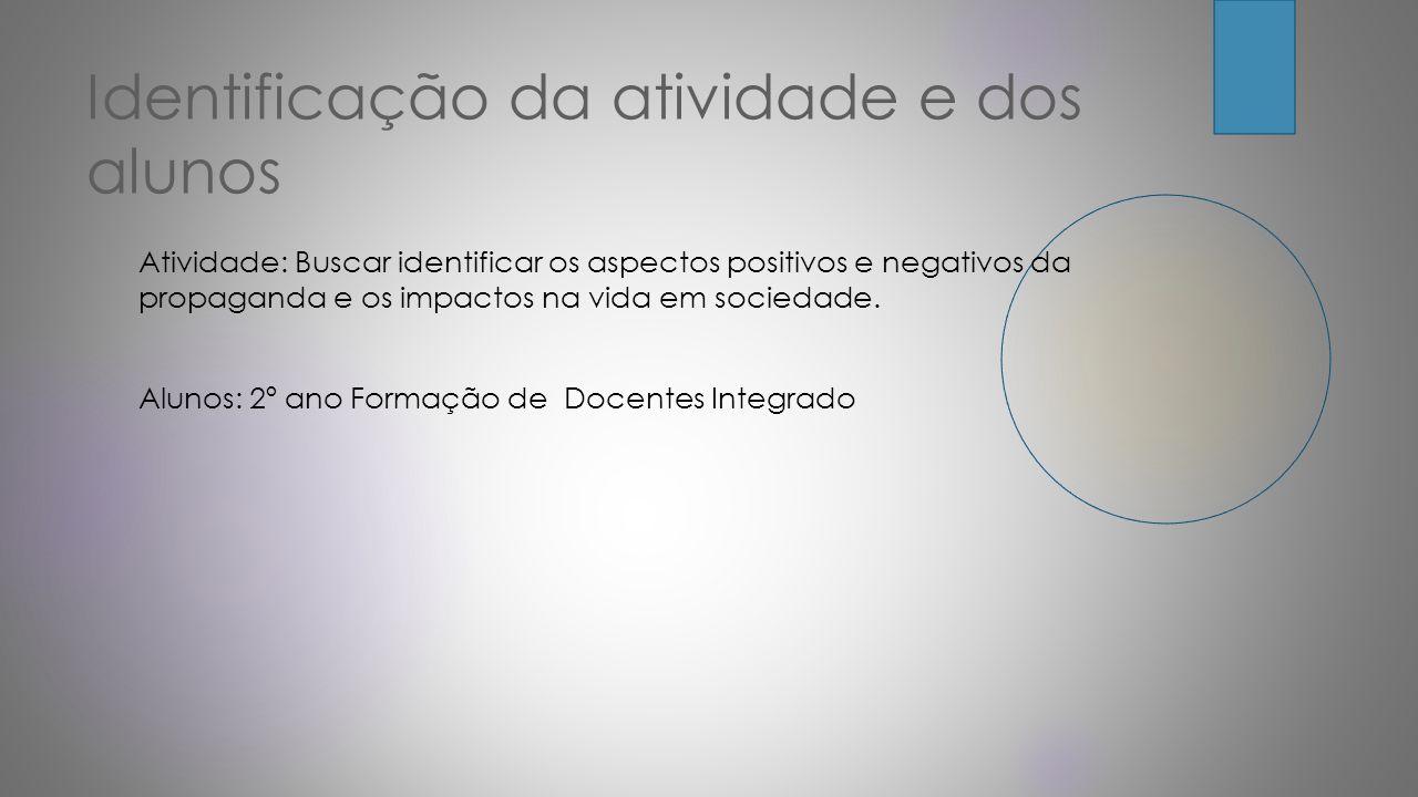 Identificação da atividade e dos alunos Atividade: Buscar identificar os aspectos positivos e negativos da propaganda e os impactos na vida em socieda