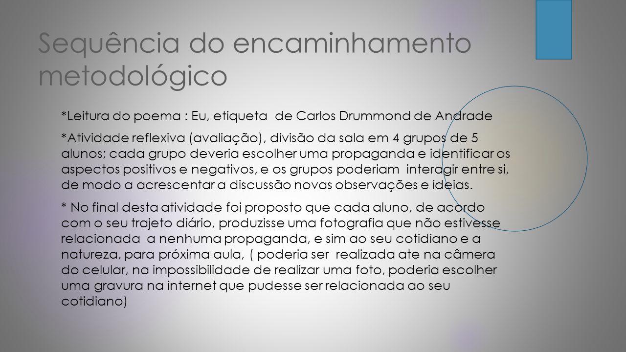 Sequência do encaminhamento metodológico *Leitura do poema : Eu, etiqueta de Carlos Drummond de Andrade *Atividade reflexiva (avaliação), divisão da s