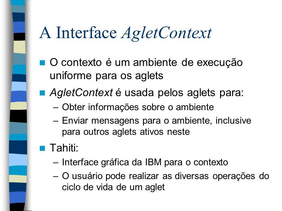 A Interface AgletContext O contexto é um ambiente de execução uniforme para os aglets AgletContext é usada pelos aglets para: –Obter informações sobre o ambiente –Enviar mensagens para o ambiente, inclusive para outros aglets ativos neste Tahiti: –Interface gráfica da IBM para o contexto –O usuário pode realizar as diversas operações do ciclo de vida de um aglet