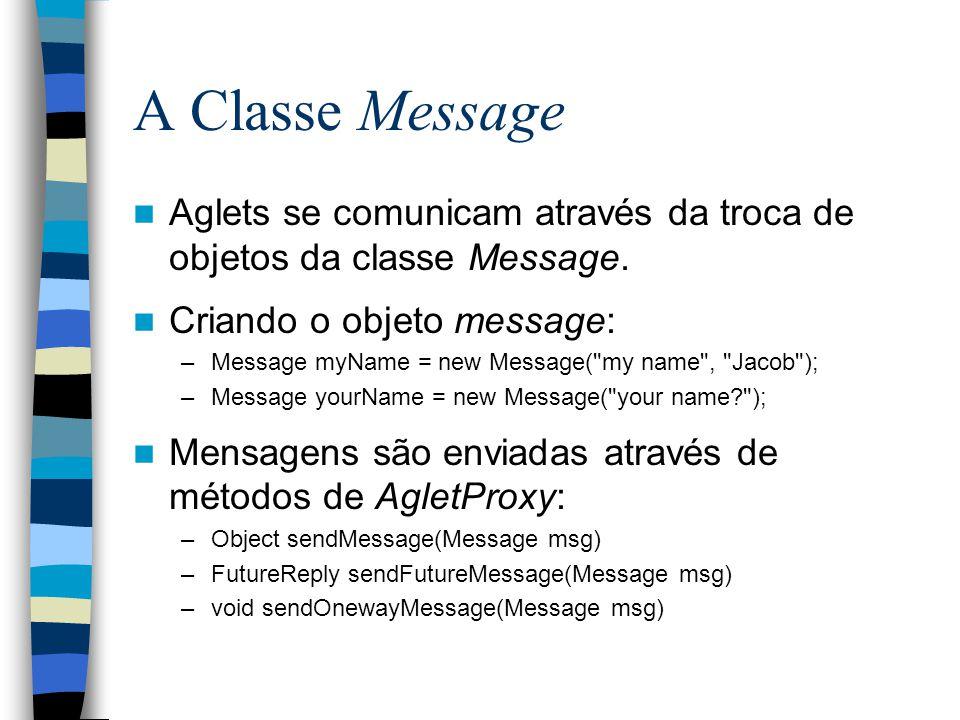 A Classe Message Aglets se comunicam através da troca de objetos da classe Message.