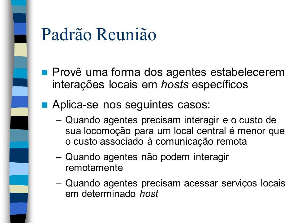 Padrão Reunião Provê uma forma dos agentes estabelecerem interações locais em hosts específicos Aplica-se nos seguintes casos: –Quando agentes precisa