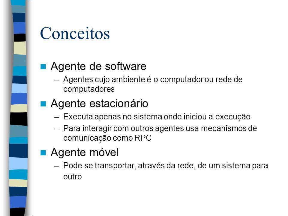 Conceitos Agente de software –Agentes cujo ambiente é o computador ou rede de computadores Agente estacionário –Executa apenas no sistema onde iniciou