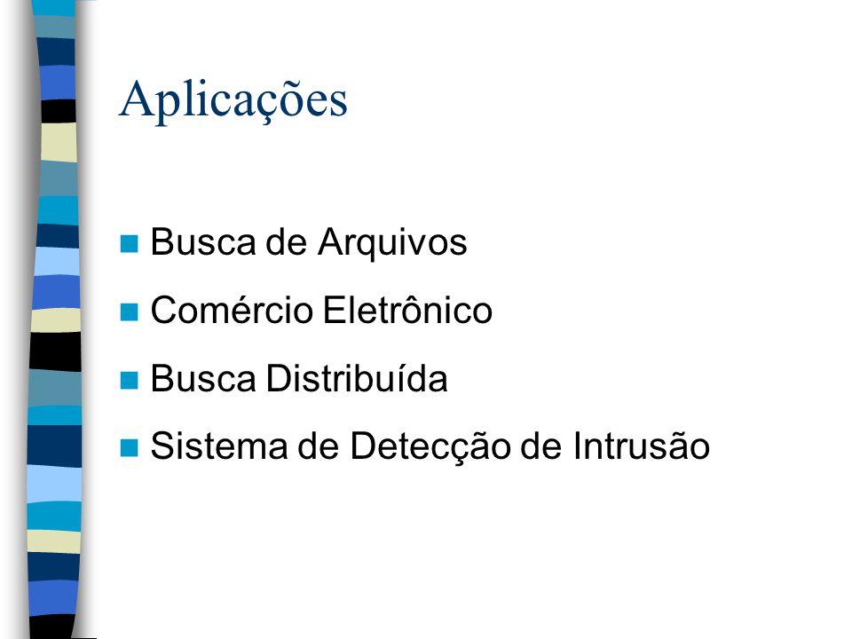 Aplicações Busca de Arquivos Comércio Eletrônico Busca Distribuída Sistema de Detecção de Intrusão