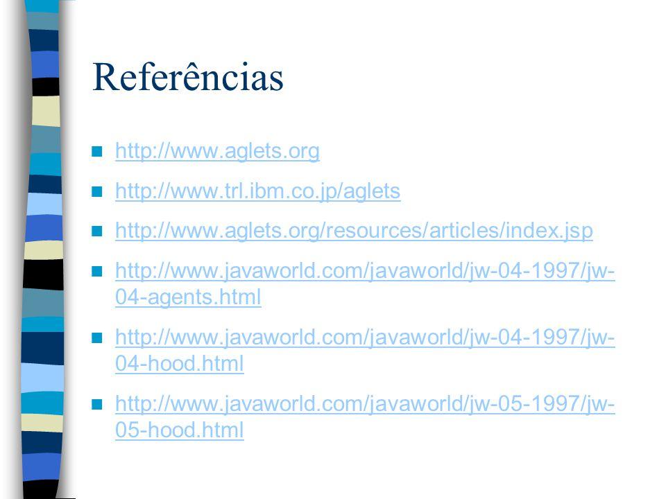 Referências http://www.aglets.org http://www.trl.ibm.co.jp/aglets http://www.aglets.org/resources/articles/index.jsp http://www.javaworld.com/javaworld/jw-04-1997/jw- 04-agents.html http://www.javaworld.com/javaworld/jw-04-1997/jw- 04-agents.html http://www.javaworld.com/javaworld/jw-04-1997/jw- 04-hood.html http://www.javaworld.com/javaworld/jw-04-1997/jw- 04-hood.html http://www.javaworld.com/javaworld/jw-05-1997/jw- 05-hood.html http://www.javaworld.com/javaworld/jw-05-1997/jw- 05-hood.html