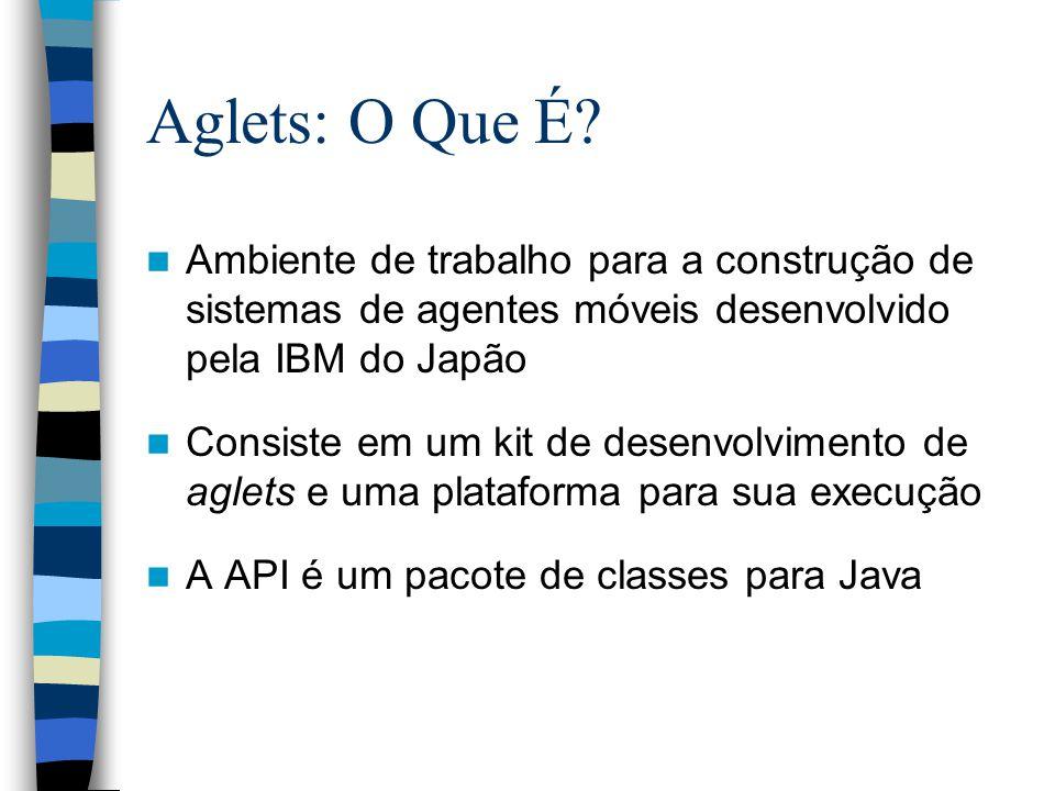Aglets: O Que É? Ambiente de trabalho para a construção de sistemas de agentes móveis desenvolvido pela IBM do Japão Consiste em um kit de desenvolvim
