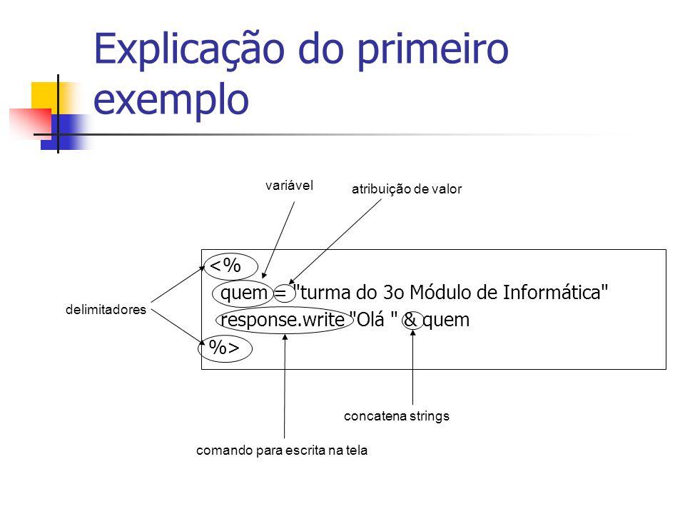Explicação do primeiro exemplo <% quem = turma do 3o Módulo de Informática response.write Olá & quem %> delimitadores concatena strings variável atribuição de valor comando para escrita na tela