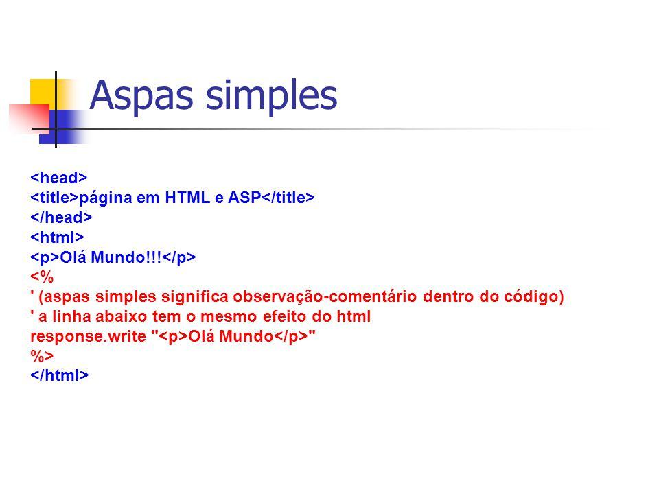 página em HTML e ASP Olá Mundo!!! <% ' (aspas simples significa observação-comentário dentro do código) ' a linha abaixo tem o mesmo efeito do html re