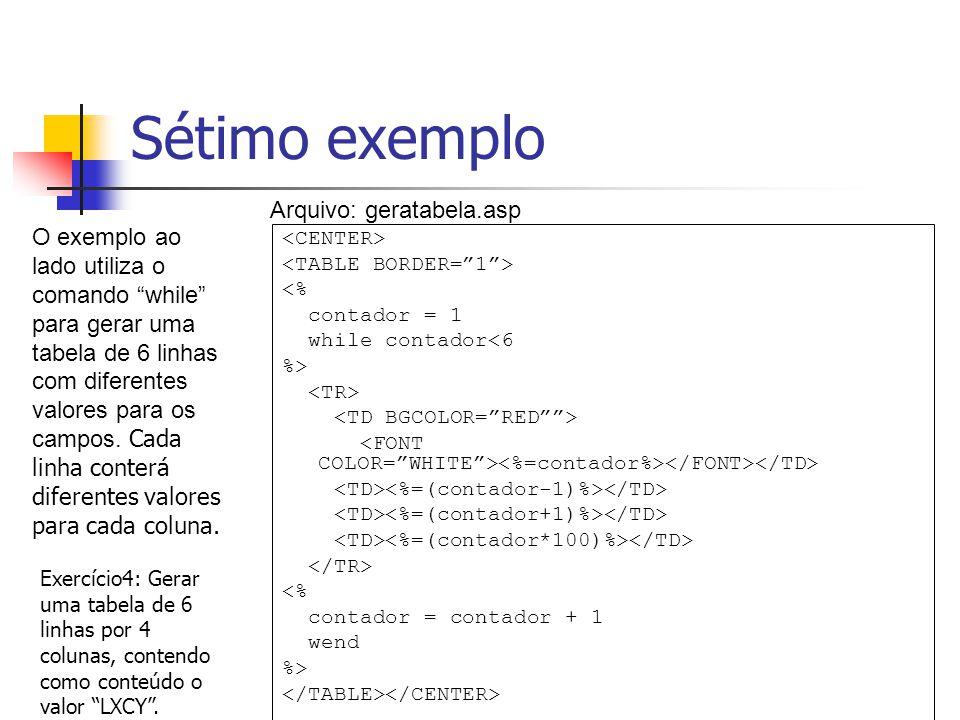 Sétimo exemplo <% contador = 1 while contador<6 %> <% contador = contador + 1 wend %> O exemplo ao lado utiliza o comando while para gerar uma tabela de 6 linhas com diferentes valores para os campos.