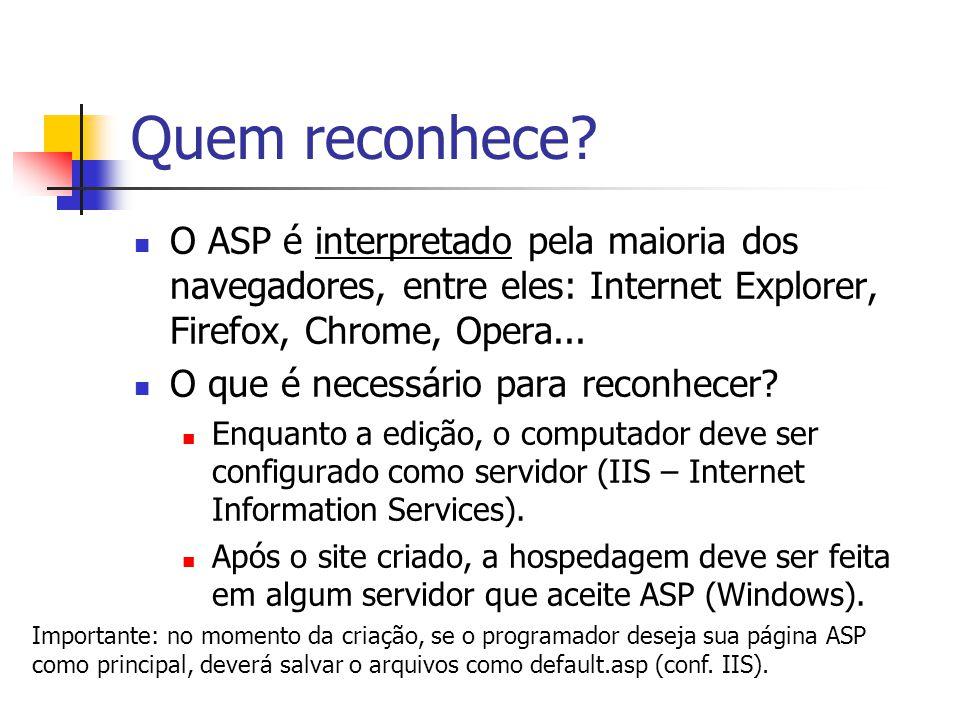 Quem reconhece? O ASP é interpretado pela maioria dos navegadores, entre eles: Internet Explorer, Firefox, Chrome, Opera... O que é necessário para re