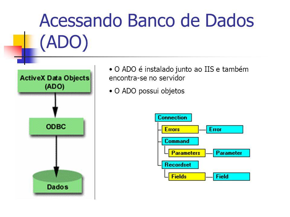 Acessando Banco de Dados (ADO) O ADO é instalado junto ao IIS e também encontra-se no servidor O ADO possui objetos