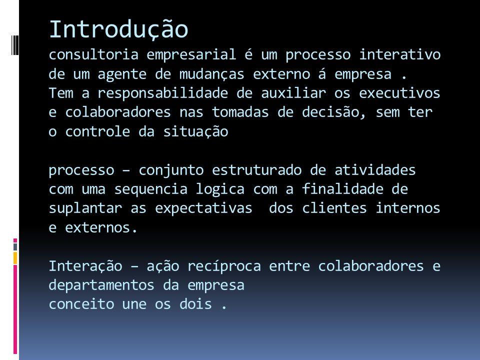 Introdução consultoria empresarial é um processo interativo de um agente de mudanças externo á empresa. Tem a responsabilidade de auxiliar os executiv