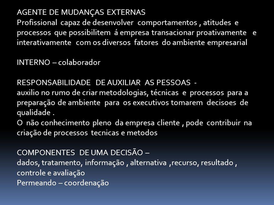AGENTE DE MUDANÇAS EXTERNAS Profissional capaz de desenvolver comportamentos, atitudes e processos que possibilitem á empresa transacionar proativamen